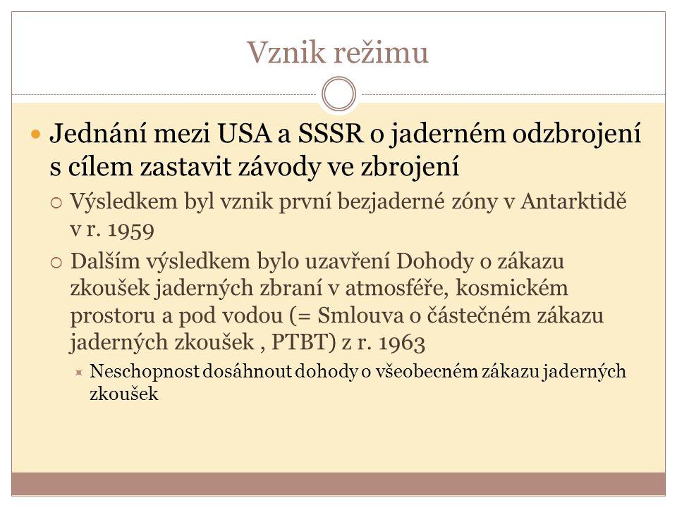Vznik režimu Jednání mezi USA a SSSR o jaderném odzbrojení s cílem zastavit závody ve zbrojení.