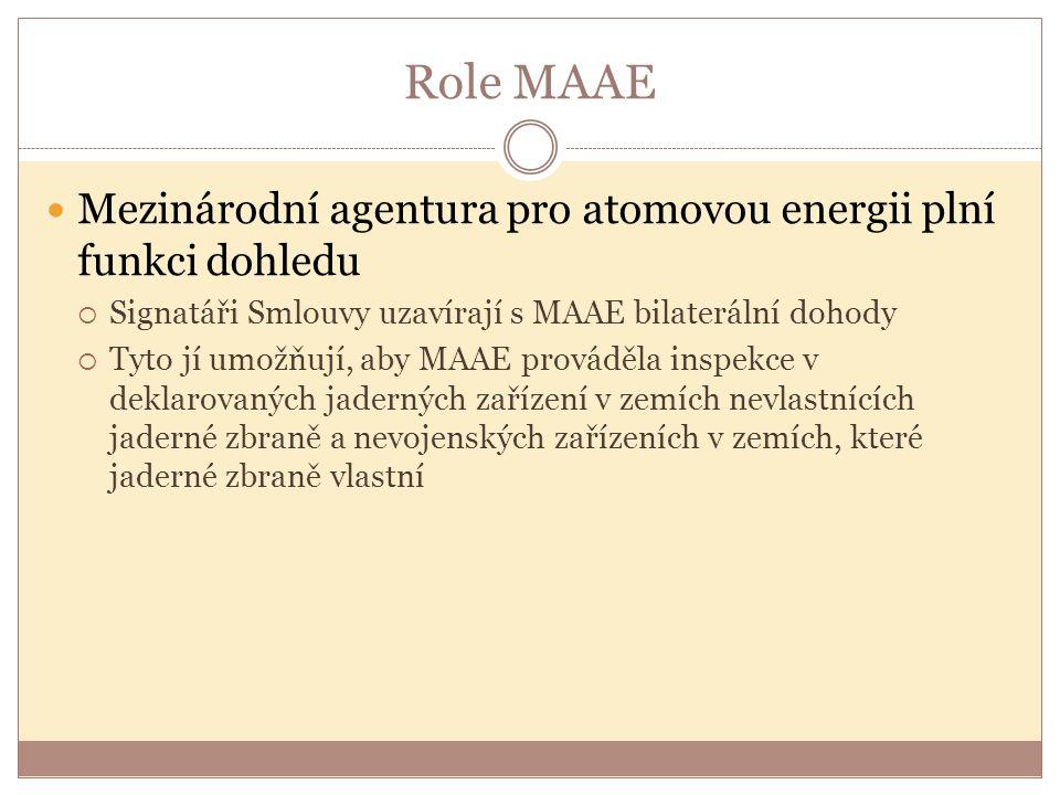 Role MAAE Mezinárodní agentura pro atomovou energii plní funkci dohledu. Signatáři Smlouvy uzavírají s MAAE bilaterální dohody.