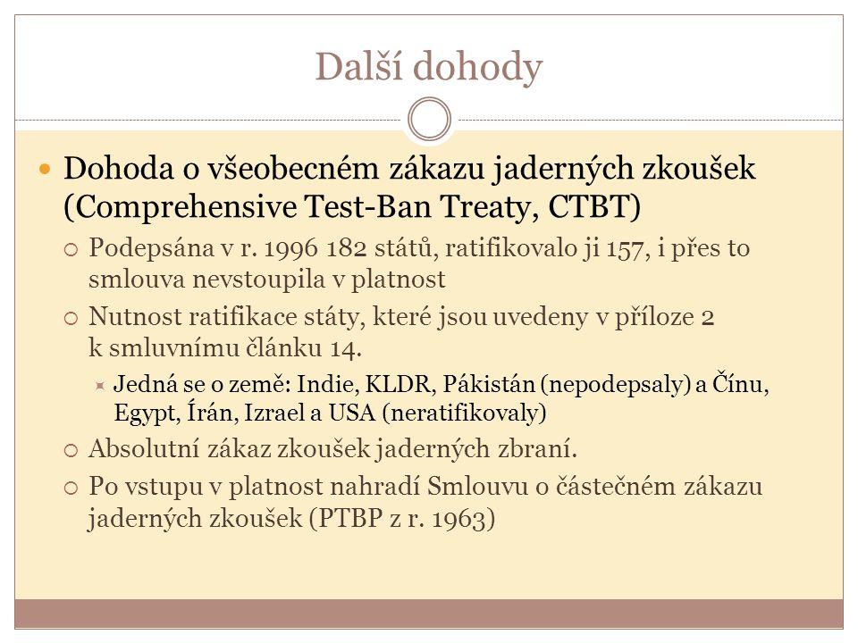 Další dohody Dohoda o všeobecném zákazu jaderných zkoušek (Comprehensive Test-Ban Treaty, CTBT)