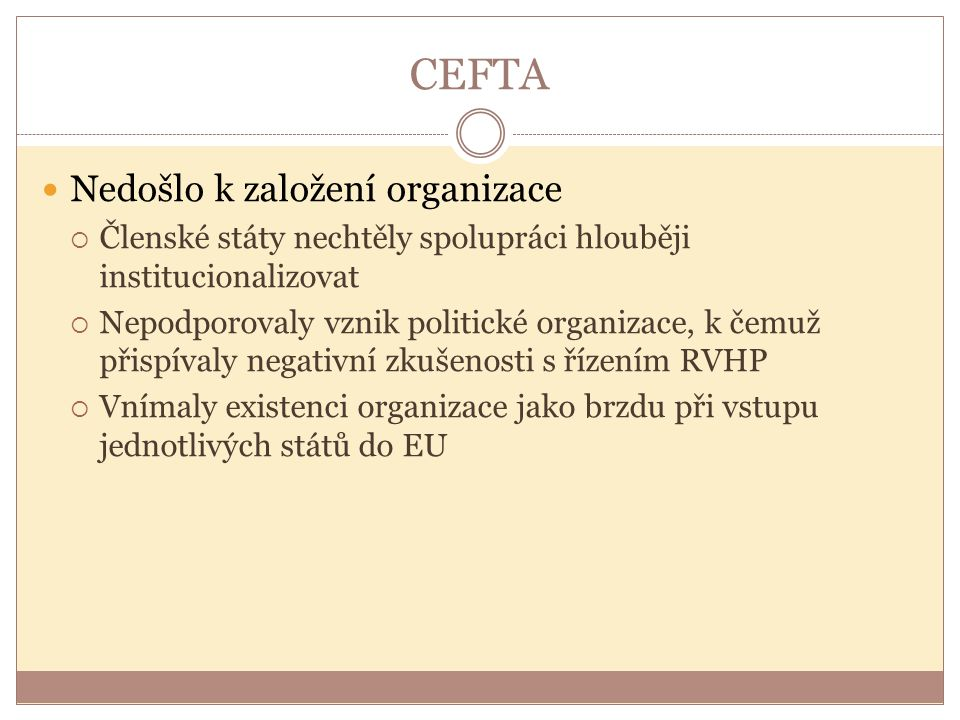 CEFTA Nedošlo k založení organizace
