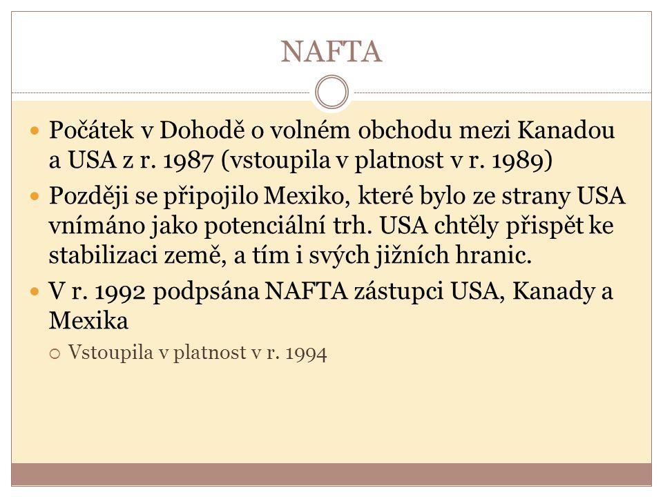 NAFTA Počátek v Dohodě o volném obchodu mezi Kanadou a USA z r. 1987 (vstoupila v platnost v r. 1989)