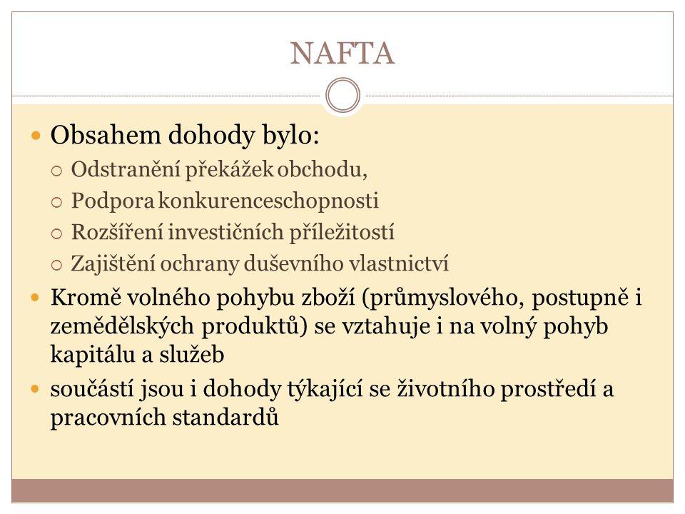 NAFTA Obsahem dohody bylo: