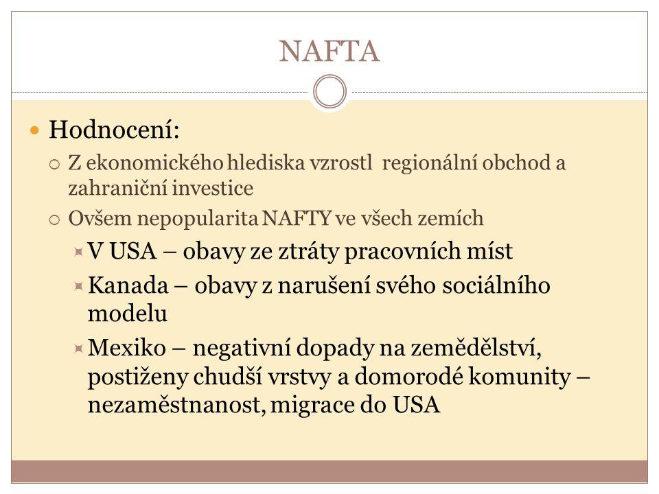 NAFTA Hodnocení: V USA – obavy ze ztráty pracovních míst