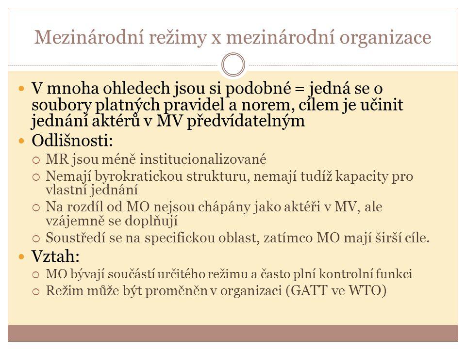 Mezinárodní režimy x mezinárodní organizace