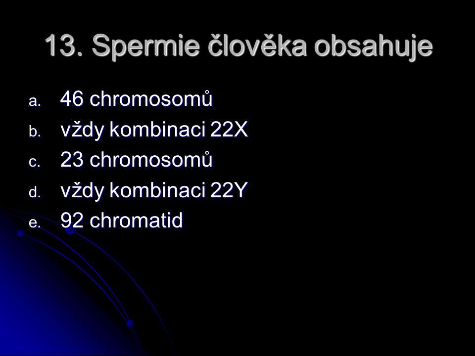 13. Spermie člověka obsahuje