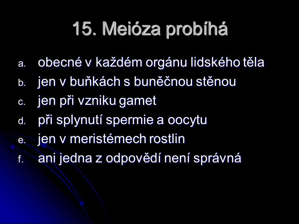 15. Meióza probíhá obecné v každém orgánu lidského těla
