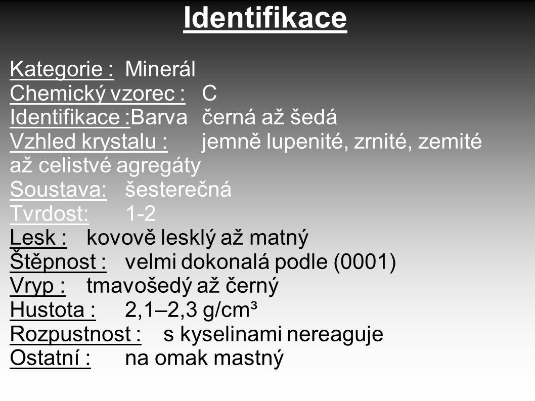 Identifikace Kategorie : Minerál Chemický vzorec : C