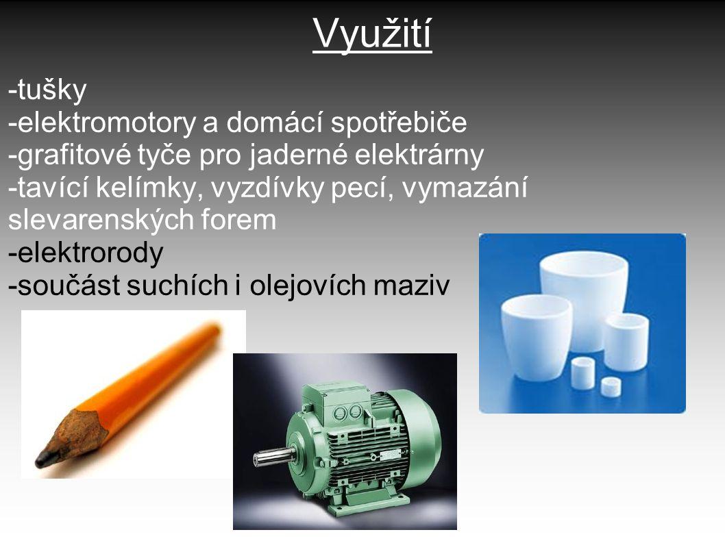 Využití -tušky -elektromotory a domácí spotřebiče