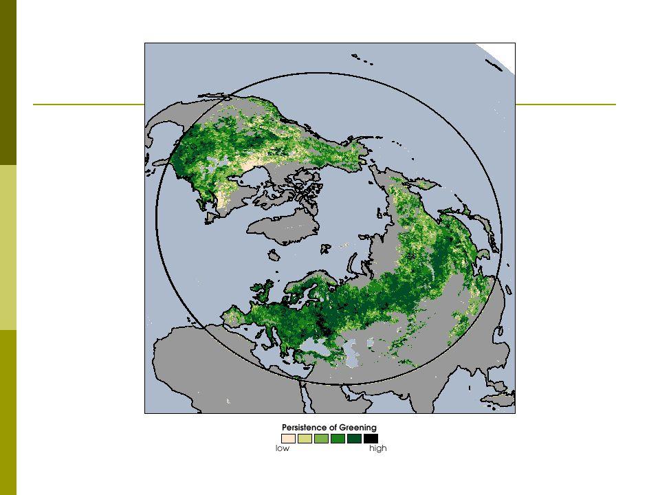 Snímek ukazuje oblast severně 30 rovnoběžky severní polokoule a barevná škála indikuje nárůst množství zelené hmoty ve srovnání s počátkem 80.