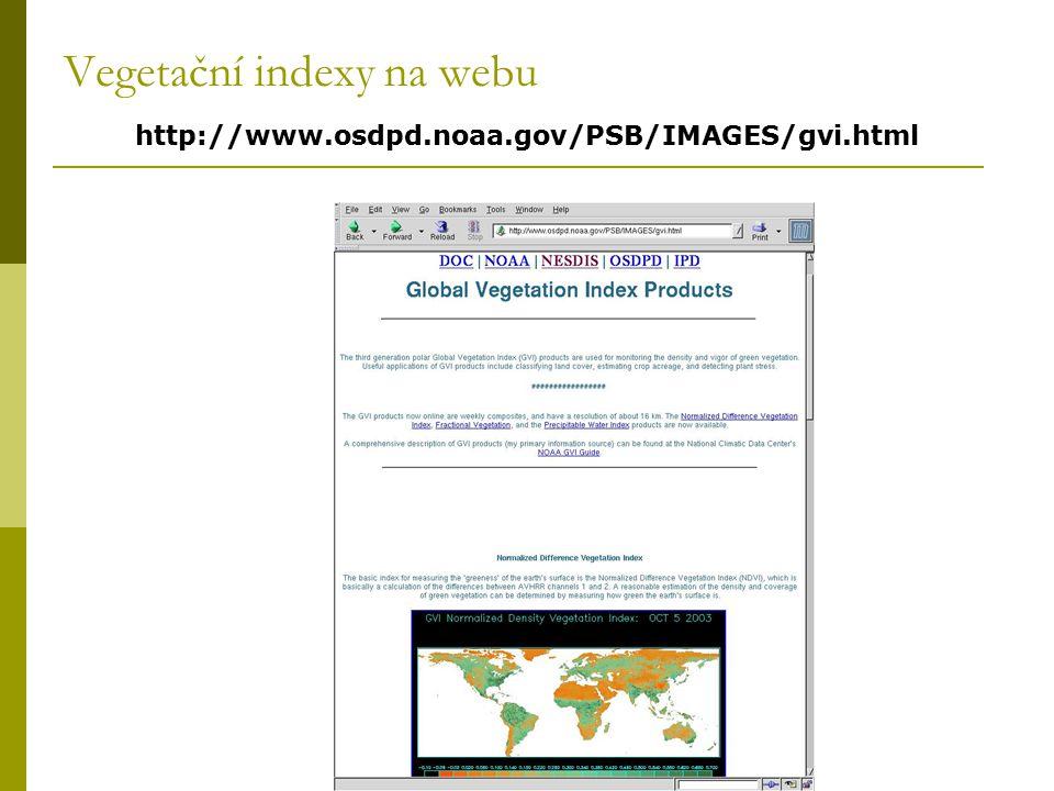 Vegetační indexy na webu