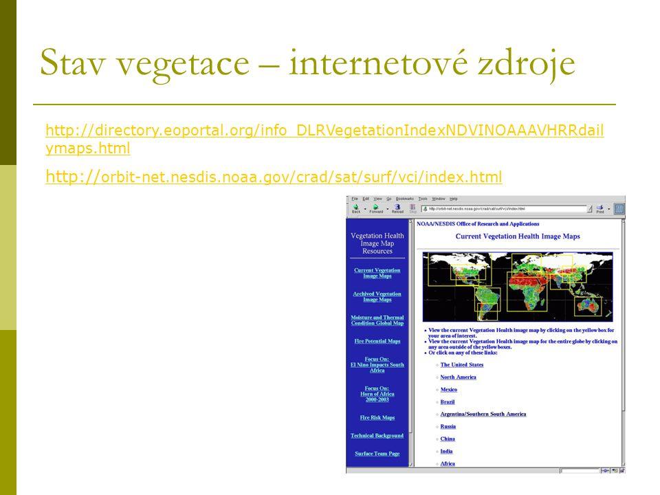 Stav vegetace – internetové zdroje