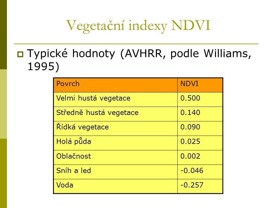 Vegetační indexy NDVI Typické hodnoty (AVHRR, podle Williams, 1995)
