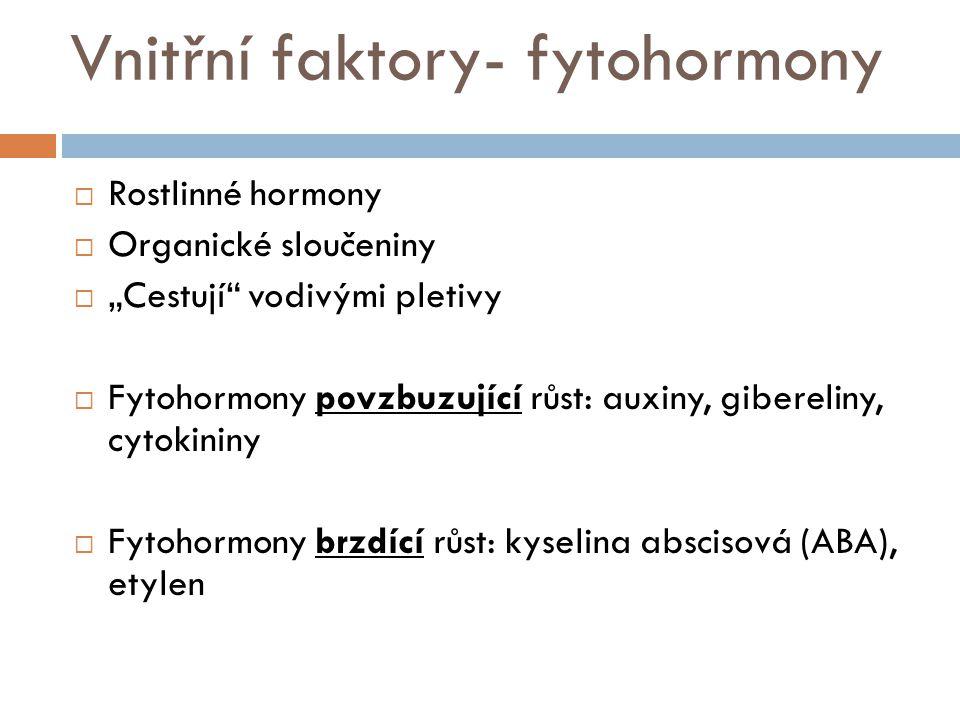 Vnitřní faktory- fytohormony