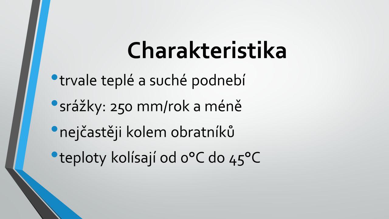 Charakteristika trvale teplé a suché podnebí srážky: 250 mm/rok a méně