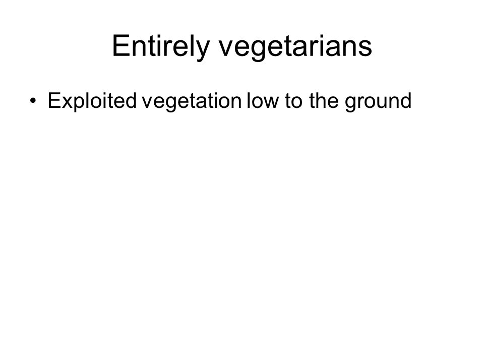 Entirely vegetarians Exploited vegetation low to the ground