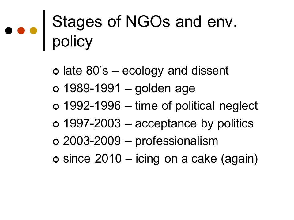 Stages of NGOs and env. policy