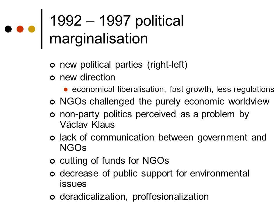 1992 – 1997 political marginalisation