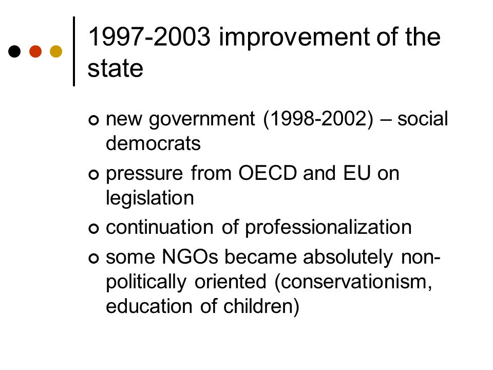 1997-2003 improvement of the state