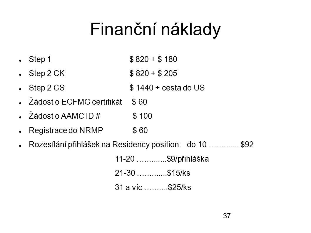Finanční náklady Step 1 $ 820 + $ 180 Step 2 CK $ 820 + $ 205