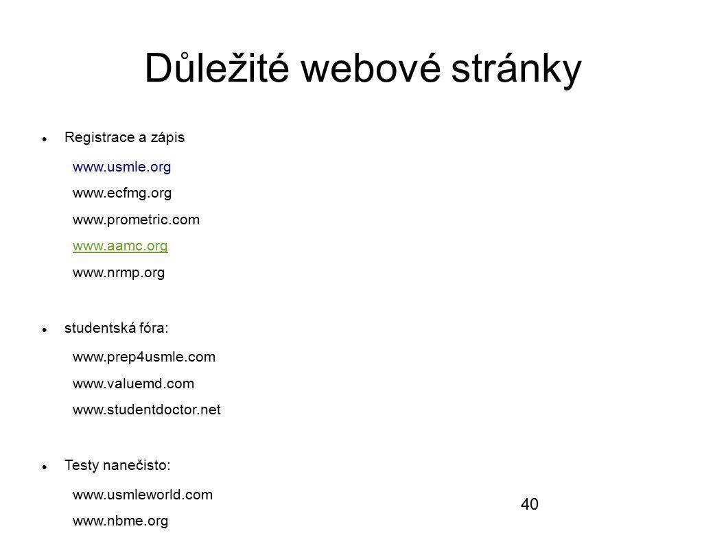 Důležité webové stránky