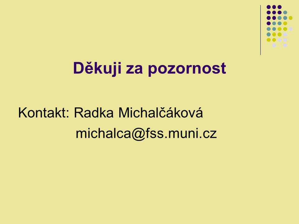 Děkuji za pozornost Kontakt: Radka Michalčáková michalca@fss.muni.cz