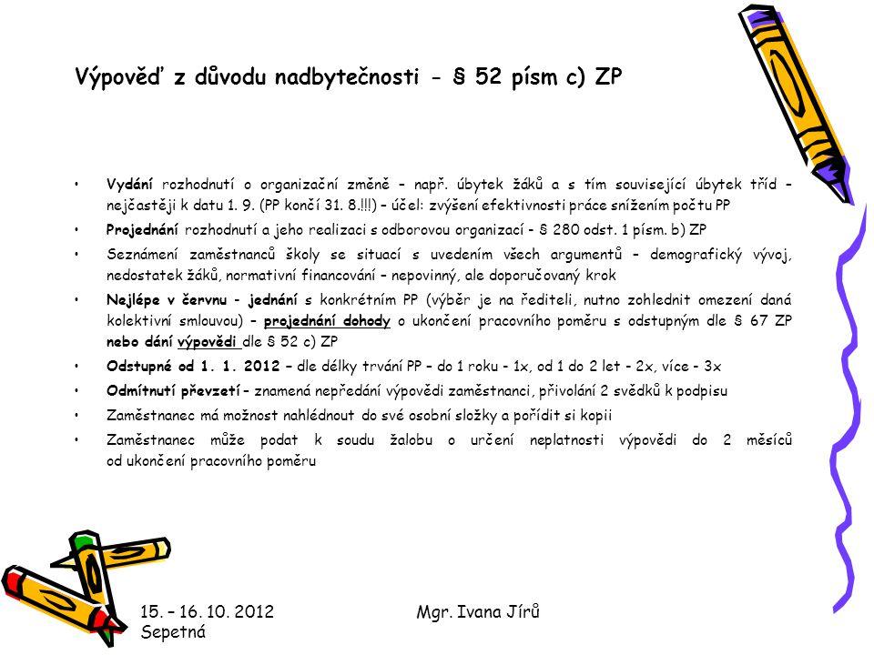 Výpověď z důvodu nadbytečnosti - § 52 písm c) ZP