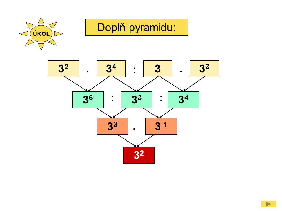 ÚKOL Doplň pyramidu: 32 . 34 : 3 . 33 : : 36 33 34 33 . 3-1 32