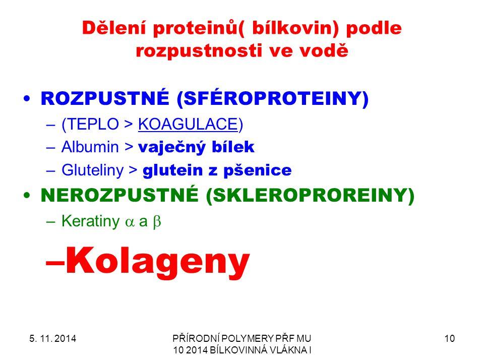Dělení proteinů( bílkovin) podle rozpustnosti ve vodě