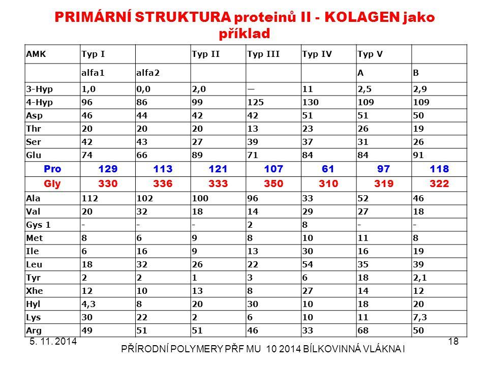 PRIMÁRNÍ STRUKTURA proteinů II - KOLAGEN jako příklad