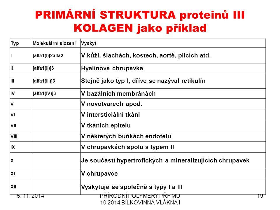PRIMÁRNÍ STRUKTURA proteinů III KOLAGEN jako příklad