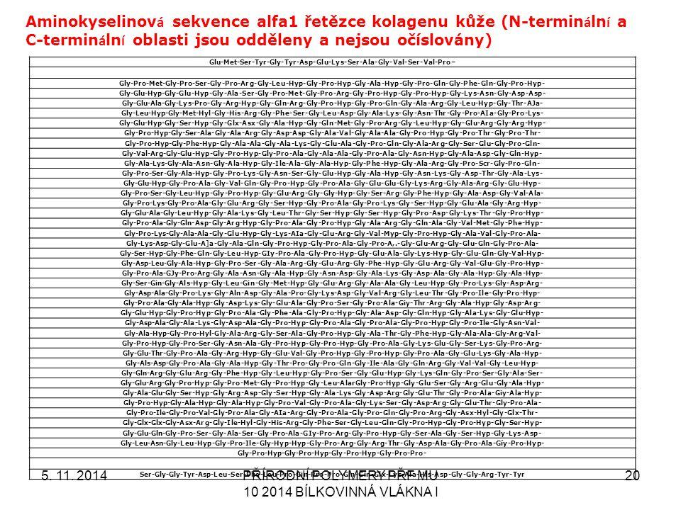 Aminokyselinová sekvence alfa1 řetězce kolagenu kůže (N-terminální a C-terminální oblasti jsou odděleny a nejsou očíslovány)