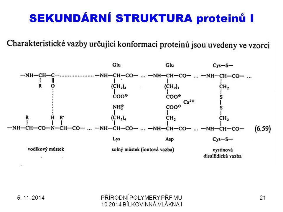 SEKUNDÁRNÍ STRUKTURA proteinů I