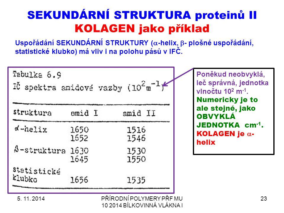 SEKUNDÁRNÍ STRUKTURA proteinů II KOLAGEN jako příklad
