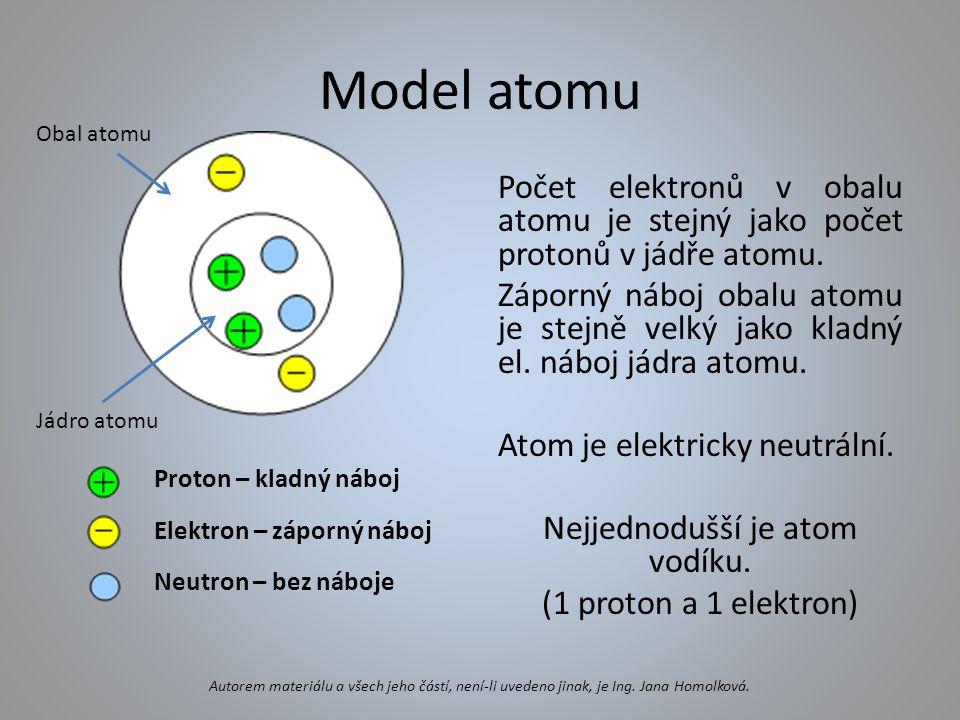 Model atomu Obal atomu. Proton – kladný náboj. Elektron – záporný náboj. Neutron – bez náboje.