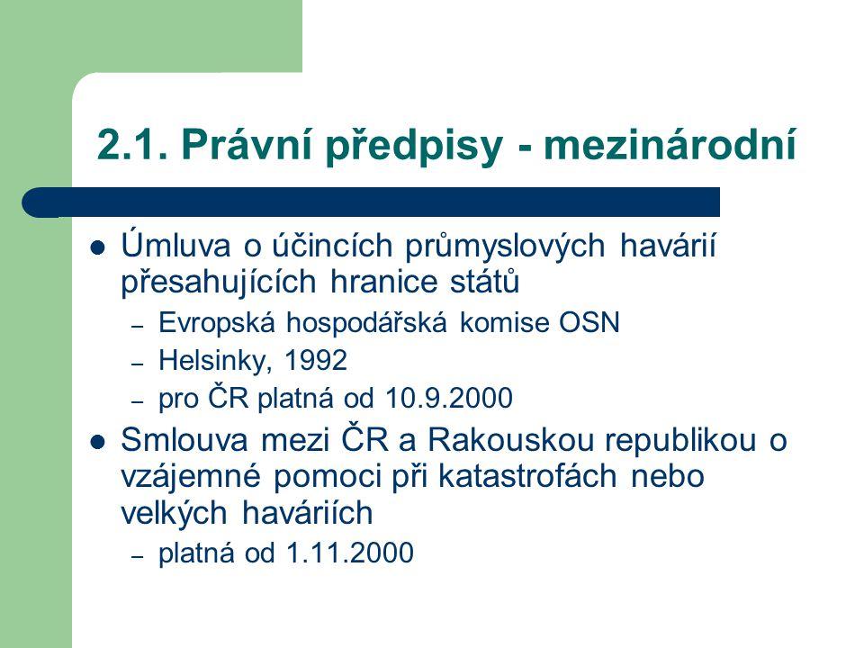2.1. Právní předpisy - mezinárodní