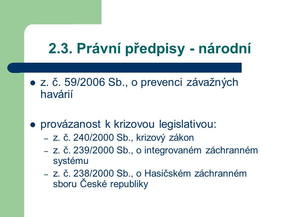 2.3. Právní předpisy - národní