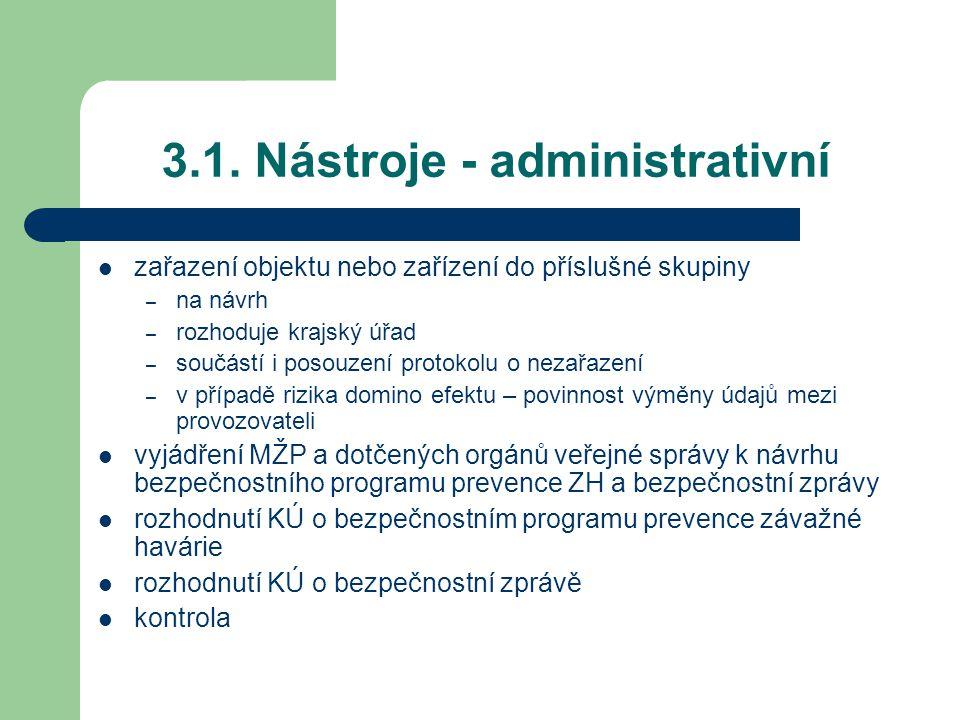 3.1. Nástroje - administrativní
