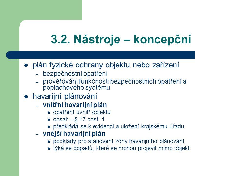 3.2. Nástroje – koncepční plán fyzické ochrany objektu nebo zařízení