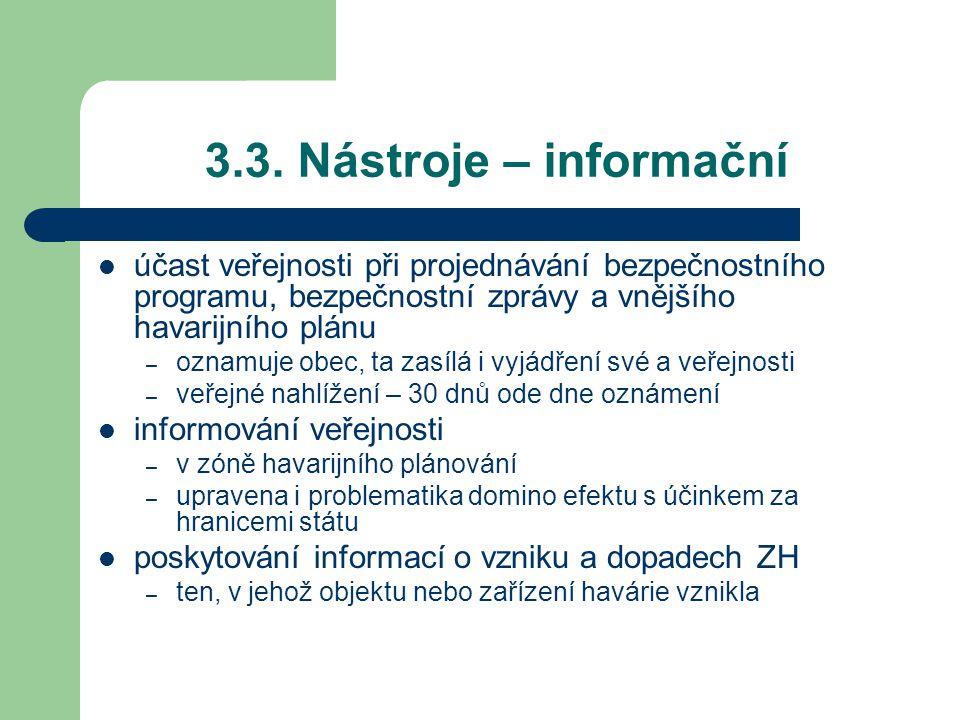 3.3. Nástroje – informační účast veřejnosti při projednávání bezpečnostního programu, bezpečnostní zprávy a vnějšího havarijního plánu.