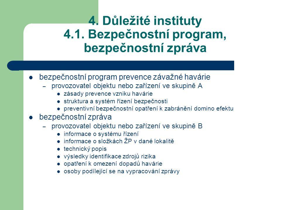 4. Důležité instituty 4.1. Bezpečnostní program, bezpečnostní zpráva