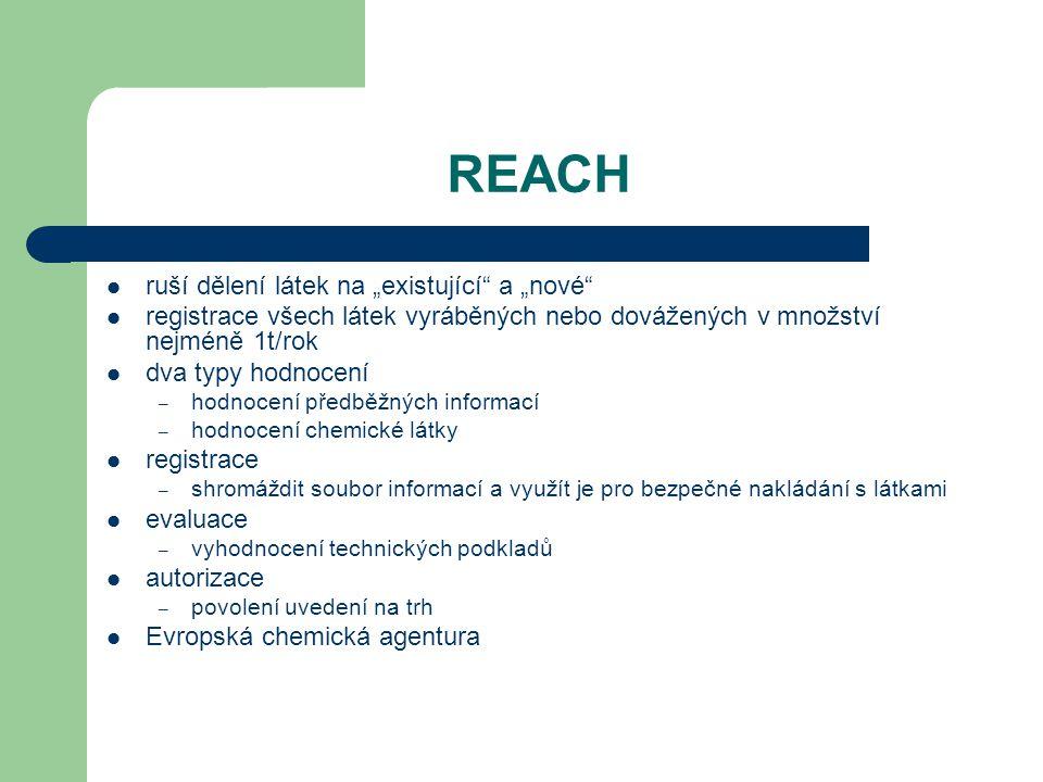 """REACH ruší dělení látek na """"existující a """"nové"""
