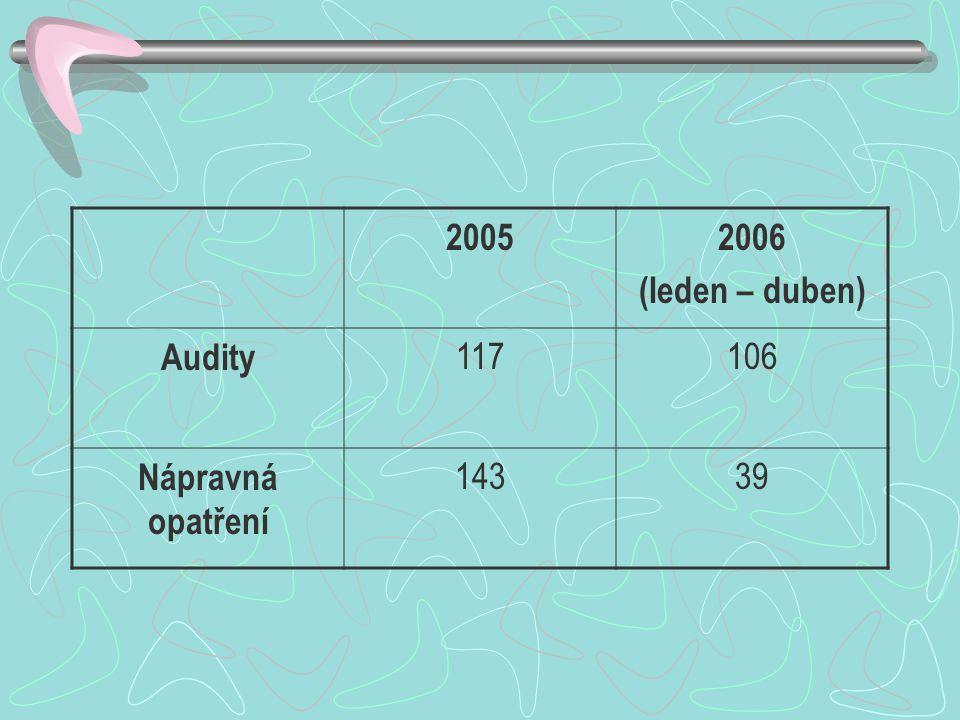 2005 2006 (leden – duben) Audity 117 106 Nápravná opatření 143 39