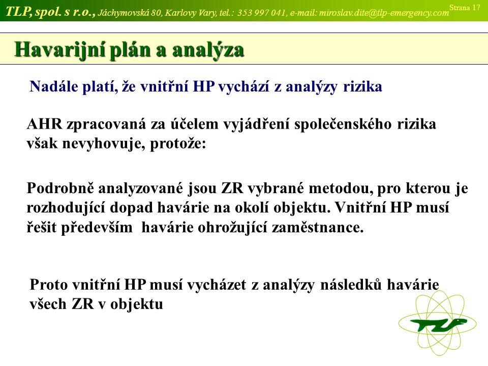 Havarijní plán a analýza