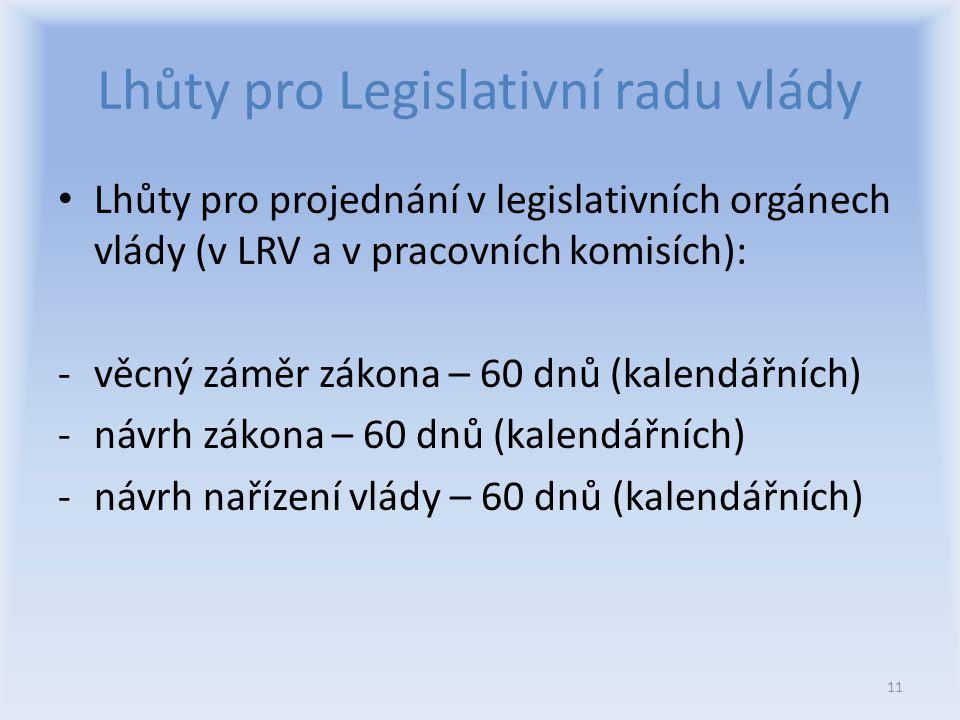 Lhůty pro Legislativní radu vlády