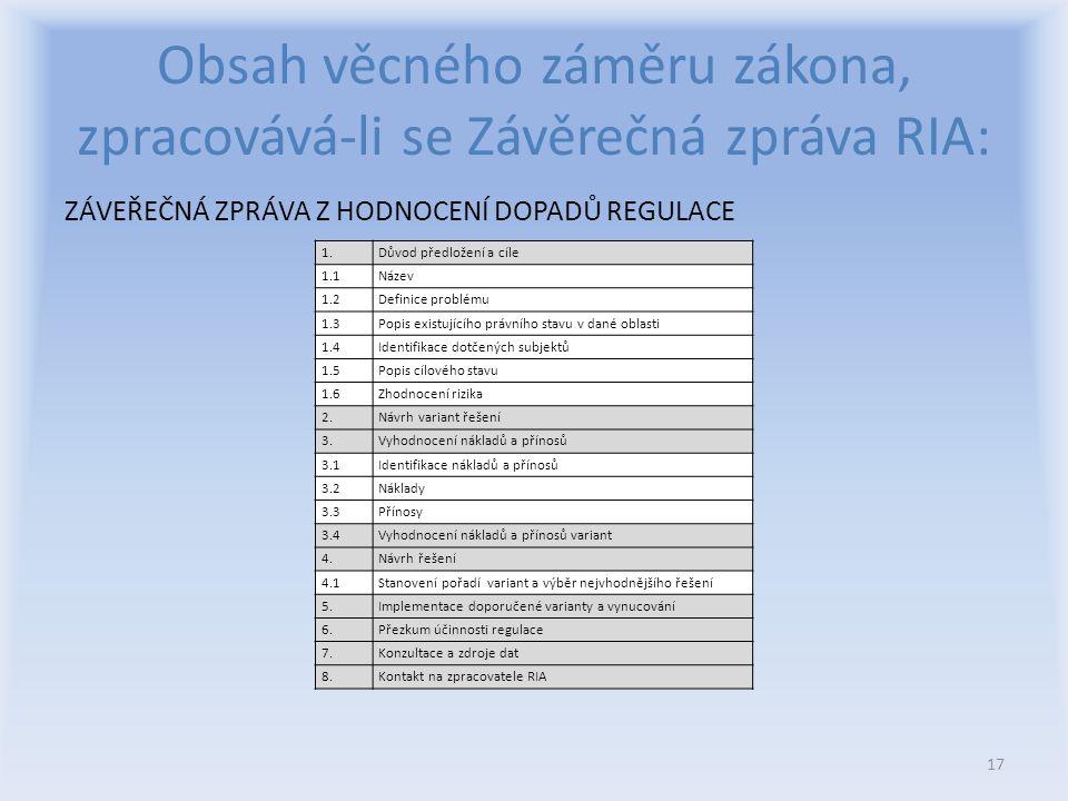 Obsah věcného záměru zákona, zpracovává-li se Závěrečná zpráva RIA: