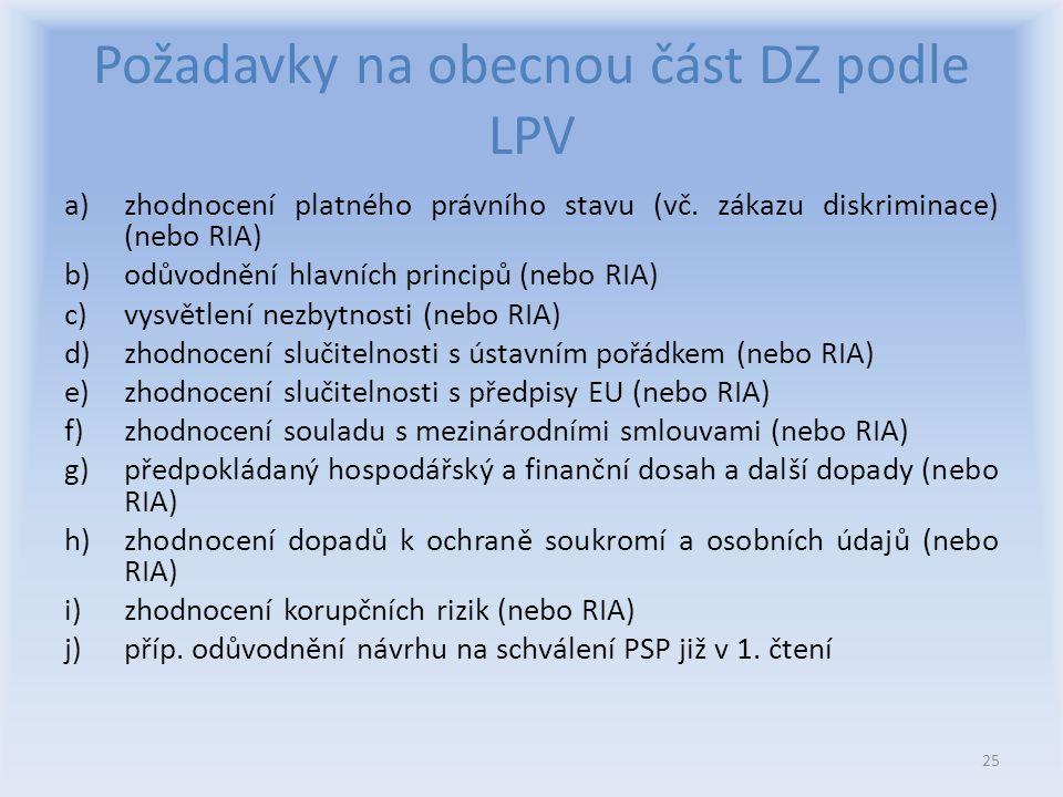 Požadavky na obecnou část DZ podle LPV