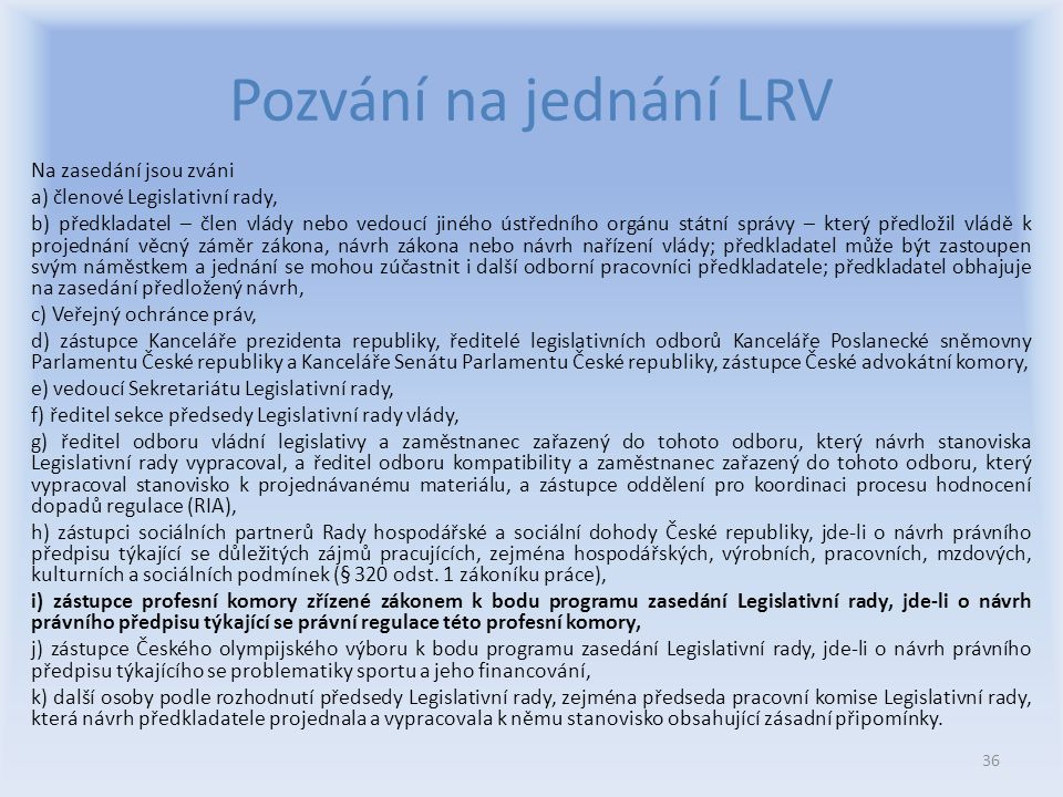 Pozvání na jednání LRV
