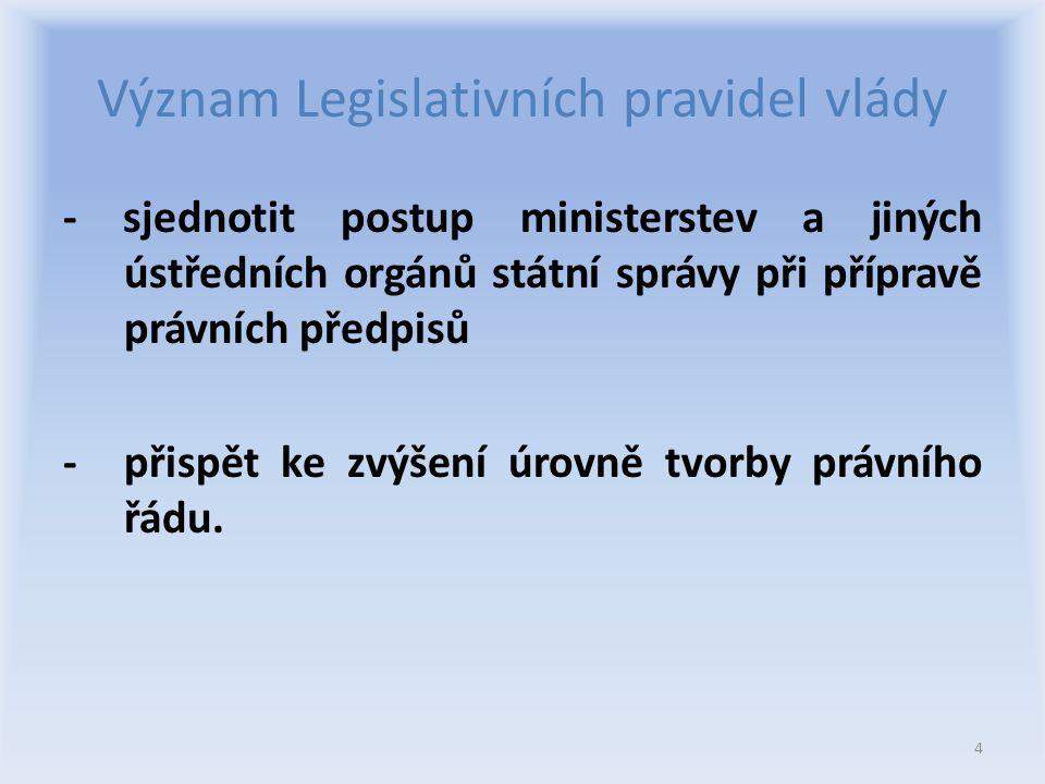 Význam Legislativních pravidel vlády