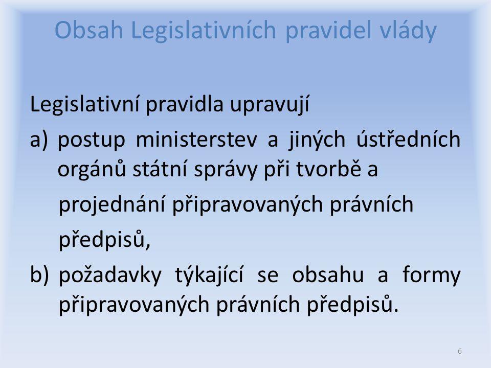Obsah Legislativních pravidel vlády