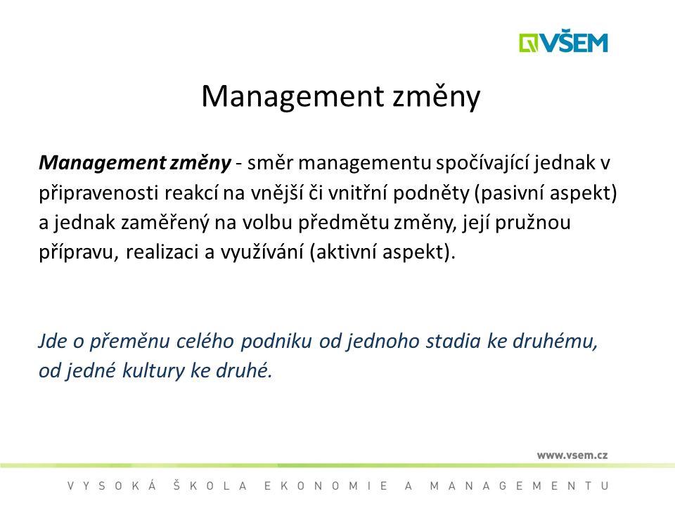 Management změny Management změny - směr managementu spočívající jednak v. připravenosti reakcí na vnější či vnitřní podněty (pasivní aspekt)